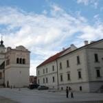 Kościół św. Jerzego, renesansowa dzwonnica i ratusz na rynku w Spiskiej Sobocie.