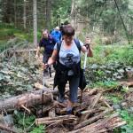6. ...i sforsowała zdezelowane drewniane trapy na podmokłym terenie...