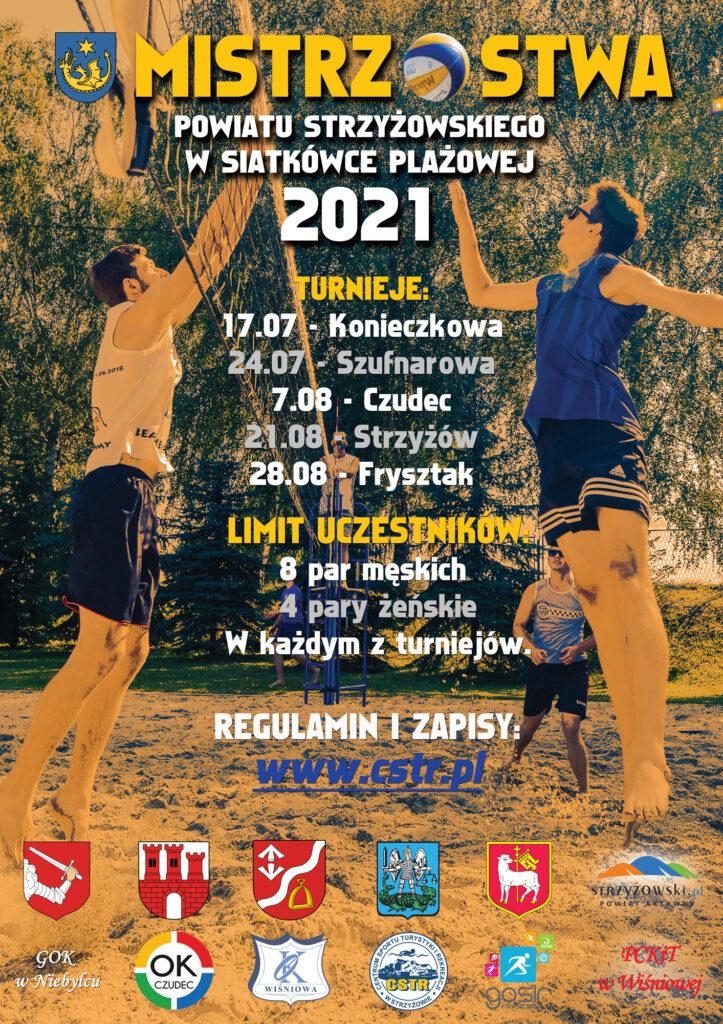 plakat Amatoskich Mistrzostw Powiatu Strzyżowskiego w Siatkówce Plażowej 2021