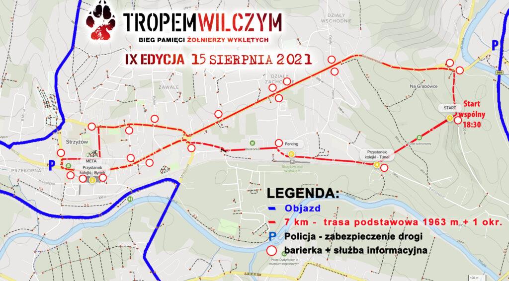 mapa biegu TropemWilczym z zakazami i objazdem